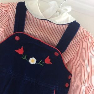 Vintage Matching Sets - Vintage Navy Corduroy Overalls with Shirt 12M